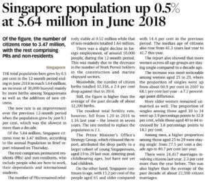 Singapore Population up 0.5% at 5.64 million in June 2018